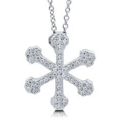 BERRICLE Sterling Silver CZ Snowflake Fashion Pendant Necklace ($69) ❤ liked on Polyvore featuring jewelry, necklaces, clear, pendant necklace, women's accessories, cubic zirconia necklaces, cz pendant necklace, cubic zirconia pendant necklace, chain necklace and snowflake pendant necklace
