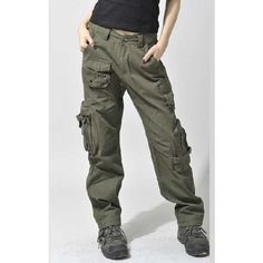 Free Knight women Outdoor Cotton Canvas Cargo Pants, Camouflage Mid... ❤ liked on Polyvore