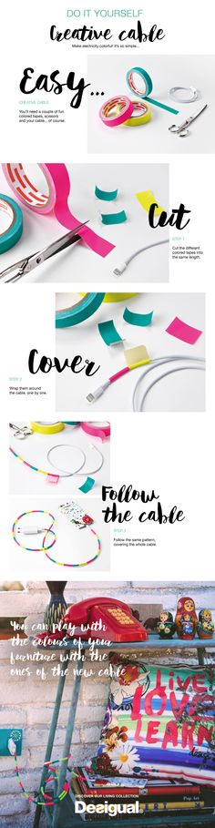 Appliance cords are usually an ugly, tangled mess displayed for everyone to see, yet we don't usually do anything to solve it. Why not make them a pretty sight? You just need some washi tape!