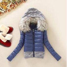 Women Winter Coat Cotton Padded Jacket Short Knitted Hood Fur Collar Womens Winter Jackets and Coats