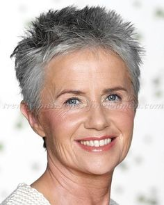 short hairstyles over 50, hairstyles over 60 - short spiky hairstyle silver hair