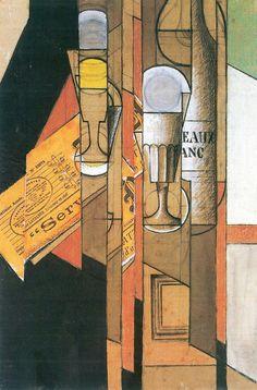 Juan Gris. Vasos, periódico y botella de vino
