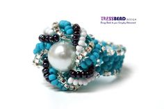Pearl Nestled Right Wave Beaded Ring 0038 by tressbead on Etsy, $20.80