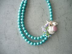 Aqua nautical pearl necklace bridal jewelry by stavroula on Etsy, $48.00