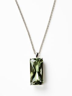 Rectangular Green Amethyst Necklace by Anzie at Gilt