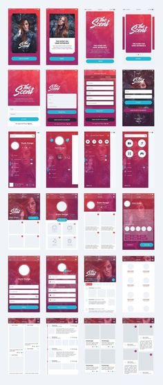 """""""The Scent"""" IOS mobile UI kit Professional, Premium mobile user interface kit. Super high-quality pack of 32 mobile IOS screen ready to use in your amazing Web Design, App Ui Design, Interface Design, User Interface, Android App Design, Android Ui, Iphone App Design, App Design Inspiration, Application Ui Design"""