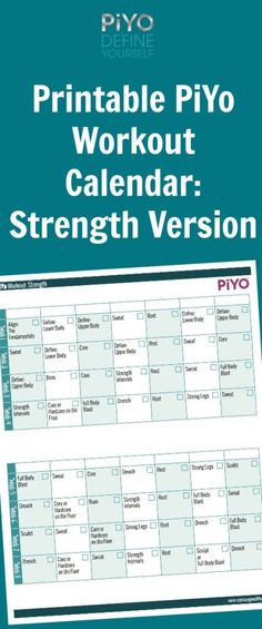 25 Best Piyo Workout Calendar Images On Pinterest Exercises