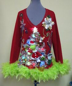 Ugly Christmas Sweaters - Ugly Christmas Sweater - Hysterical Double sided Tacky Ugly Christmas Sweater Light Up, Festive Fun, Womens Medium feather foo foo trim, Light up Trees, Funny Ugliest Christmas Sweater Ever, Homemade Ugly Christmas Sweater, Funny Christmas Sweaters, Ugly Christmas Sweater Women, Xmas Sweaters, Ugly Sweater Contest, Ugly Sweater Party, Halloween College, Crazy Cat Lady