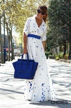 White Splash Print Shirt Collar Long Maxi Dress | You can find this at => http://feedproxy.google.com/~r/amazingoutfits/~3/oznNer9iwk0/photo.php