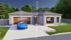 2 Bedroom House Plan BLA 107S - My Building Plans South Africa 2 Bedroom House Plans, My House Plans, My Building, Building Plans, Beautiful House Plans, Beautiful Homes, Fancy Houses, Tuscan House, Double Garage