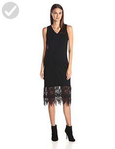 Kensie Women's Ponte Midi Dress with Lace Hem, Black, Large - All about women (*Amazon Partner-Link)