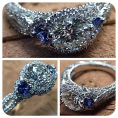 Each diamond is brilliantly illuminated and two Sapphires add a traditional touch to this Venetian-5032R. Engagement rings by @Verragio