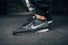 Black And White Flyknit Racer On Feet Nike flyknit racer - dark grey/white/black (by