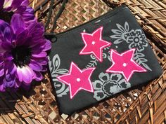 Stars and Flowers Designed Hand-held Purse by OpalMoonTreasures