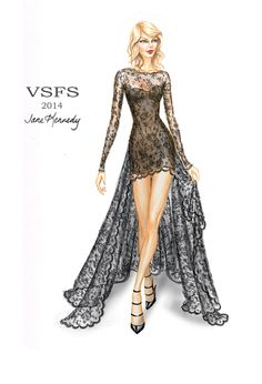 """Angel Ball"" drawing for the Victoria's Secret Fashion Show. Worn by Taylor Swift.  Illustration by Jane Kennedy www.janelkennedy.com"