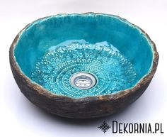 Turquoise basin, original sink, handmade washstand, ceramics, unique pattern #washbasin #sink #handmade #umywalka #turkus #recznierobione #dekornia #pattern #mandala