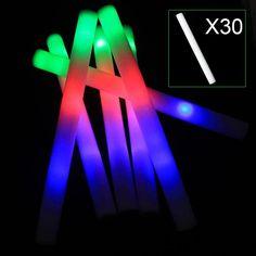 30pcs Light Up Multi Color LED Foam Stick Wands