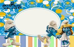 The Smurfs Free: Printable Invitations or Photo Frames. Disney Printables, Party Printables, Graduation Wallpaper, Smurf Village, Free Printable Invitations Templates, Oh My Fiesta, Bear Valentines, Freebies, Writing Paper