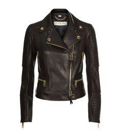 Burberry London Mossgrove Quilted Lambskin Biker Jacket Black   Harrods