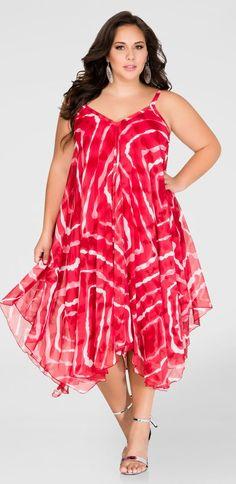 Plus Size Flowy Hanky Hem Dress