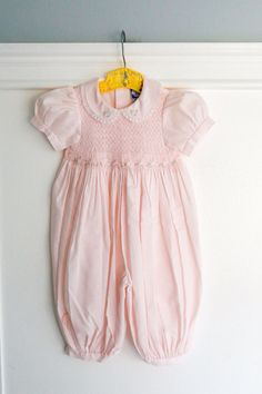 4f69bac54 6 months: Smocked Pink Baby Bubble Romper, Full Length, Floral Smocking,  Lace Edged Peter Pan Collar, by Carriage Boutiques