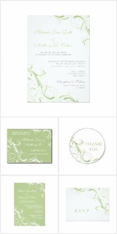 Filigree Swirl Green Wedding Invitation Set Collection | Save the Date, RSVP, Thank You and more | Green, apple green, pea green