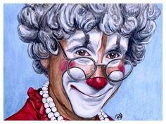 Watercolor Clown #27 Barry Lubin AKA Grandma 9 X 12 on Canson 140 lb Cold Press paper Original AVAILABLE $200.00 Prints Available