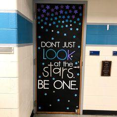 New science classroom door decorations bulletin boards Ideas Space Theme Classroom, Stars Classroom, Classroom Displays, School Classroom, Classroom Organization, Star Themed Classroom, Future Classroom, Classroom Display Boards, Art Classroom Decor