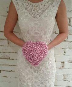 Pink Beaded Heart Bouquet