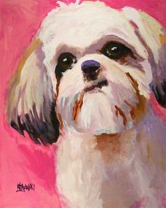 Shih Tzu Art Print of Original Acrylic Painting  by dogartstudio