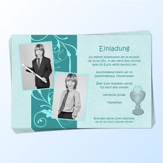 Diese Einladungskarten zur Konfirmation / Kommunion werden mit einem oder zwei Fotos sowie Ihrem persönlichen Einladungstext gestaltet. Die Einladungskarte ist in 6 verschiedenen Farben erhältlich. Im Bereich rechts unten wird wahlweise...