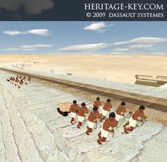 Egyptian workers are here shown dragging blocks up the first section of the pyramid, which was built using a long external ramp.