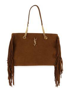 e6d57b10a9 Monogram Fringe Suede Chain-Strap Shopping Tote Bag