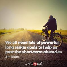 """#quotes """"We all need lots of powerful long range goals to help us past the short-term obstacles."""" - Jim Rohn Fantasy Wolf, Reaching Goals, Jim Rohn, Goal Quotes, Business Inspiration, Life Goals, Motivation, Range, Cookers"""