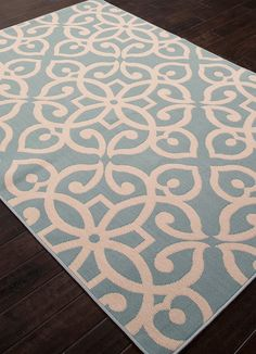 Scrolled Blue Surf And Birch Indoor Outdoor Rug Coastal Area Rugs