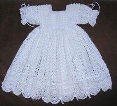 crochet blessing dresses | White Blessing & Christening Dress 13037G by CherryHillCrochet