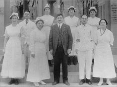 Beth Israel Deaconess Medical Center 1916 Hyman Danzig, center, first president and chief executive of Beth Israel Hospital, with nurses and physicians outside the original Townsend Street location in Roxbury.