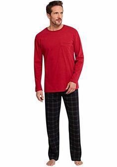Schiesser Pyjama »Scottland Yard« für 49,95€. Langer Pyjama aus Single Jersey, Rundhalsausschnitt mit Rippen, Oberteil mit Brusttasche bei OTTO