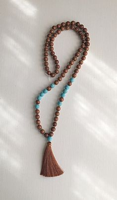 Brown Gold and Turquoise Tassel Necklace by poppyvail on Etsy
