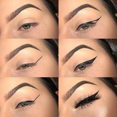 Cat Eye Makeup Tutorial, Eyebrow Makeup Tips, Makeup Looks Tutorial, Makeup Eye Looks, No Eyeliner Makeup, Day Makeup, Contour Makeup, Simple Eyeliner Tutorial, Winged Eyeliner Tutorial