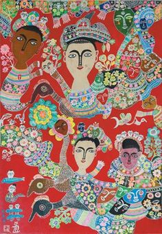 hung tung in Taiwan/Asia Folk Art, Drawings, Flower Art, Painting, Contemporary Decorative Art, Chinese Painting, Illustration Art, Art Inspiration, Outsider Art