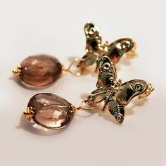 #Orecchini #Monachina #Farfalla in Argento Color Oro, Pietra #Quarzo-Fume'