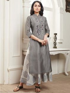 Shop Grey color cotton festive kurti online from G3fashion India. Brand - G3, Product code - G3-WKU7131, Price - 2295, Color - Grey, Fabric - Cotton,
