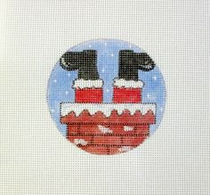 HELP! Santa Stuck in the Chimney Handpainted Needlepoint Canvas Ornament #Unbranded