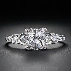 1.06 Carat Diamond Vintage Engagement Ring http://www.langantiques.com/products/item/10-3-7034