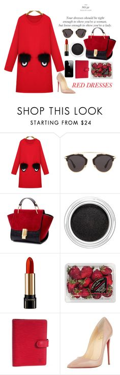 """""""I see you"""" by strange-girl0 ❤ liked on Polyvore featuring WithChic, Christian Dior, Clarins, Lancôme, FRUIT, Louis Vuitton, Christian Louboutin and reddress"""