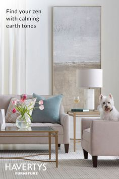 SERENITY NOW  We're bringing the zen – cool, calm and blissful, this room is like a breath of fresh air. Soft whites and beiges make for a serene mood, while metallic accents bring the sophistication. You'll want to sit and stay a while.