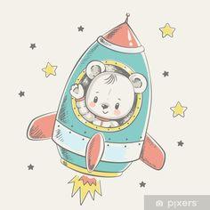 Illustration Mignonne, Cute Illustration, Baby Shower Invitation Cards, Baby Shower Cards, Rocket Cartoon, Art Mignon, Illustrator, Baby Drawing, Cute Cartoon