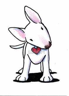 Art: Curious White Bull Terrier by Artist KiniArt
