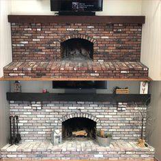Newest Pic Fireplace Remodel slate Thoughts Lovely Diy Brick Fireplace Makeover Ideas – We Otomotive Info, White Wash Brick Fireplace, Painted Brick Fireplaces, Paint Fireplace, Brick Fireplace Makeover, Shiplap Fireplace, Farmhouse Fireplace, Home Fireplace, Fireplace Design, Fireplace Mantels